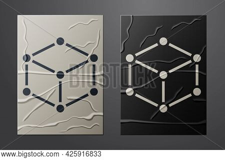 White Isometric Cube Icon Isolated On Crumpled Paper Background. Geometric Cubes Solid Icon. 3d Squa