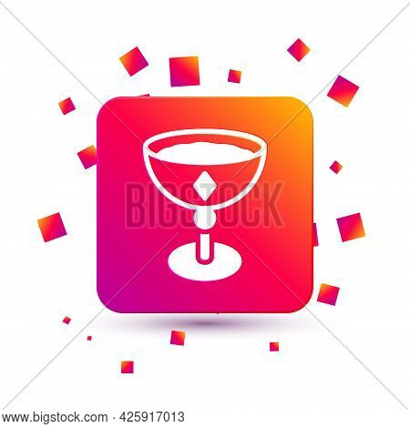 White Medieval Goblet Icon Isolated On White Background. Square Color Button. Vector