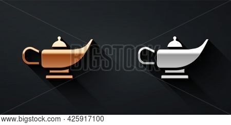 Gold And Silver Magic Lamp Or Aladdin Lamp Icon Isolated On Black Background. Spiritual Lamp For Wis