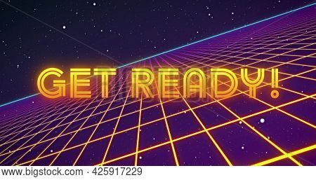 Image of neon flickering game over text over glowing yellow grid. retro image game and entertainment concept digitally generated image.