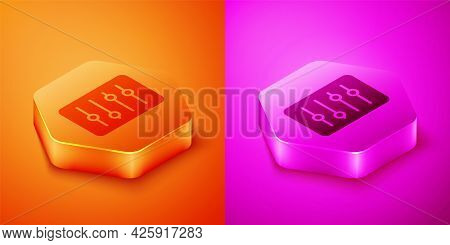 Isometric Sound Mixer Controller Icon Isolated On Orange And Pink Background. Dj Equipment Slider Bu