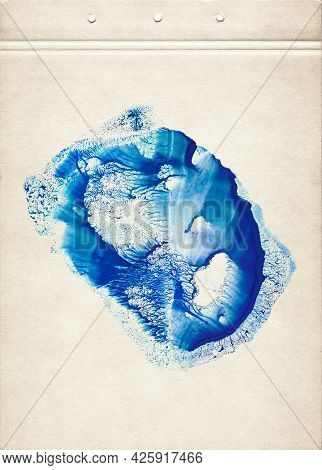 Blue Watercolor Spot. Abstract Watercolor Painting On Old Paper. Abstract Smudged Texture Background