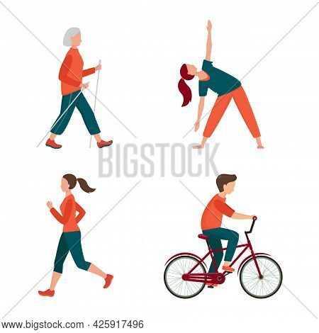 Outdoor Activity. Different People Set Isolated On White. Male And Female Have Outdoor Activity. Jog