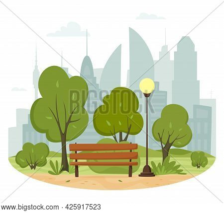 City Summer Park Concept. Trees And Bushes, Park Bench, Walkway, Lantern And City Silhouette. Town A