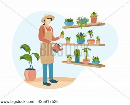 Woman In Hat Waters Indoor Flowers. Female Character With Sprinkler And Apron Stands Near Rack With
