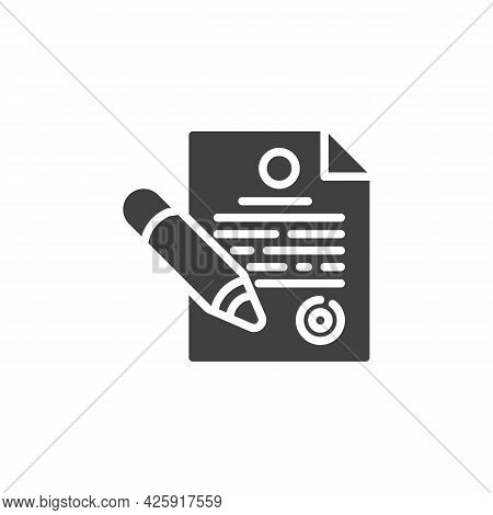 Contract And Pen Vector Icon. Agreement Contract Filled Flat Sign For Mobile Concept And Web Design.