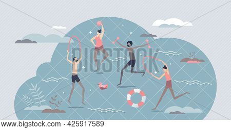Hydrotherapy And Water Cure For Body Disease Treatment Tiny Person Concept. Physical Exercise For He