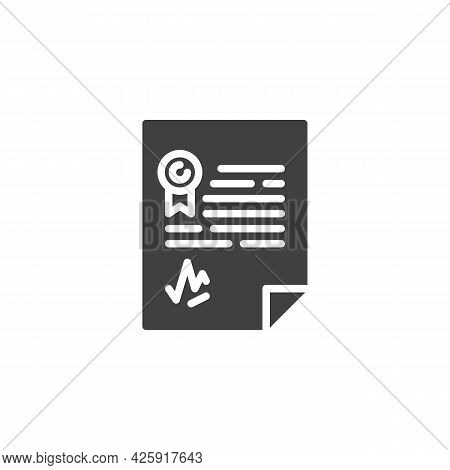 Agreement Contract With Signature Vector Icon. Filled Flat Sign For Mobile Concept And Web Design. C