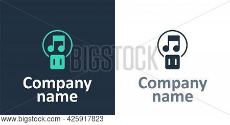 Logotype Pause Button Icon Isolated On White Background. Logo Design Template Element. Vector