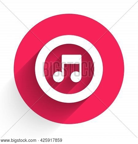 White Music Note, Tone Icon Isolated With Long Shadow. Red Circle Button. Vector