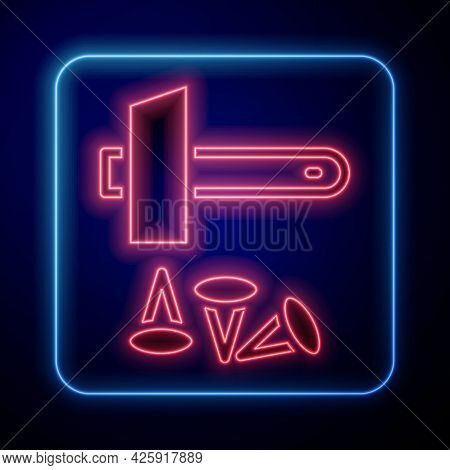 Glowing Neon Crucifixion Of Jesus Christ Icon Isolated On Black Background. Hammer And Old Nails. Go