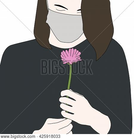 People With Mask Character Illustrations. Hand Drawn Vector Illustrations Of People In Masks.
