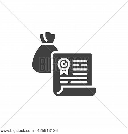 Financial Agreement Contract Vector Icon. Filled Flat Sign For Mobile Concept And Web Design. Bank C