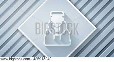 Paper Cut Monk Icon Isolated On Grey Background. Paper Art Style. Vector