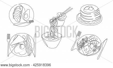 One Line Breakfast. Dishes Of Morning Meal, Healthy Food And Start Of Day, Fried Eggs Pancakes And C