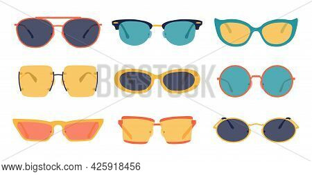 Party Glasses. Fashion Summer Color Accessory, Trendy Retro Glasses Collection, Hipster Fashionable