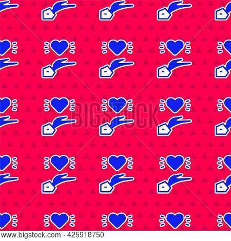 Blue Pleasant Relationship Icon Isolated Seamless Pattern On Red Background. Romantic Relationship O