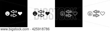 Set Romantic Relationship Icon Isolated On Black And White Background. Romantic Relationship Or Plea