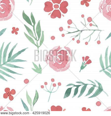 Flower Shop Design With Floral Branch And Buds Vector Seamless Pattern