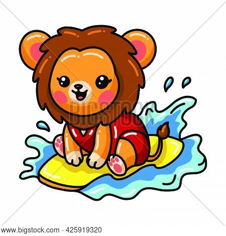 Vector Illustration Of Cute Surfer Baby Lion Cartoon