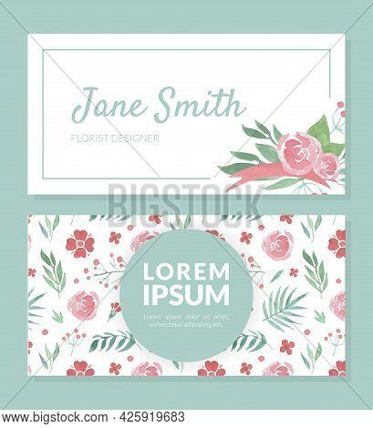 Floral Visit Card With Flower Arrangement Vector Template