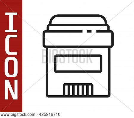 Black Line Antiperspirant Deodorant Roll Icon Isolated On White Background. Cosmetic For Body Hygien