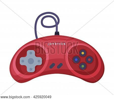 Red Video Game Console Controller, Joystick Of Modern Game Console Cartoon Vector Illustration