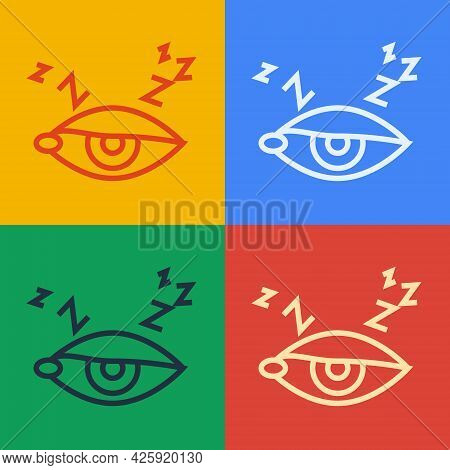 Pop Art Line Insomnia Icon Isolated On Color Background. Sleep Disorder With Capillaries And Pupils.