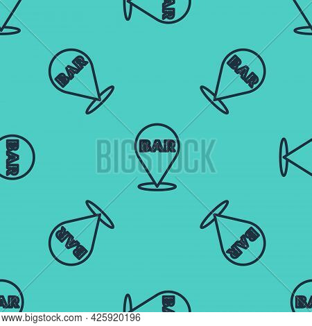 Black Line Alcohol Or Beer Bar Location Icon Isolated Seamless Pattern On Green Background. Symbol O