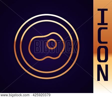 Gold Line Scrambled Eggs Icon Isolated On Black Background. Home Cooked Food, Fried Egg, Healthy Bre