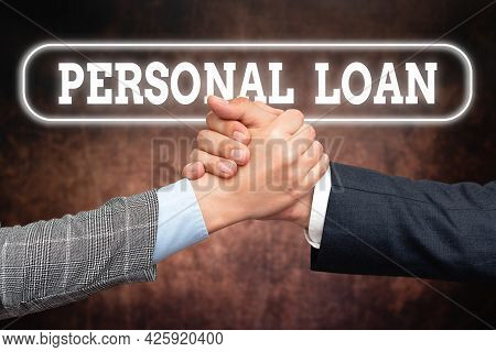 Text Caption Presenting Personal Loan. Business Idea Borrowing A Fixed Amount Of Money From A Bank O