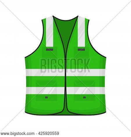 Safety Reflective Vest Icon Sign Flat Style Design Vector Illustration. Green Colored Fluorescent Se
