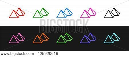 Set Line Egypt Pyramids Icon Isolated On Black And White Background. Symbol Of Ancient Egypt. Vector