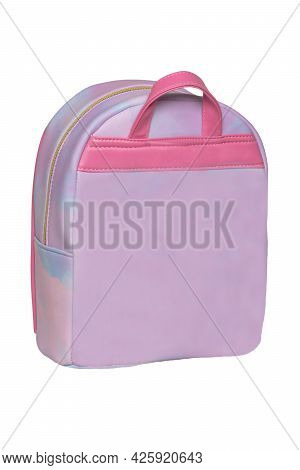Closeup Of A Colorful Bright Pink Red Comfortable School Backpack Isolated On A White Background. Co