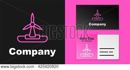 Pink Line Wind Turbine Icon Isolated On Black Background. Wind Generator Sign. Windmill For Electric