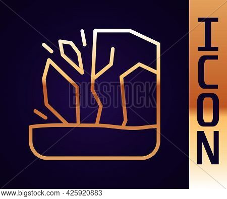 Gold Line Glacier Melting Icon Isolated On Black Background. Vector
