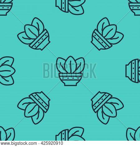 Black Line Plant In Pot Icon Isolated Seamless Pattern On Green Background. Plant Growing In A Pot.