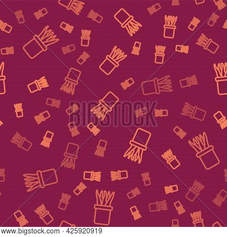Brown Line Plant In Pot Icon Isolated Seamless Pattern On Red Background. Plant Growing In A Pot. Po