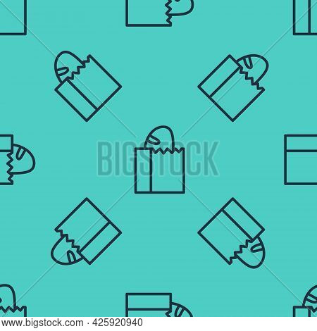 Black Line Paper Bag With Bread Loaf Icon Isolated Seamless Pattern On Green Background. Vector