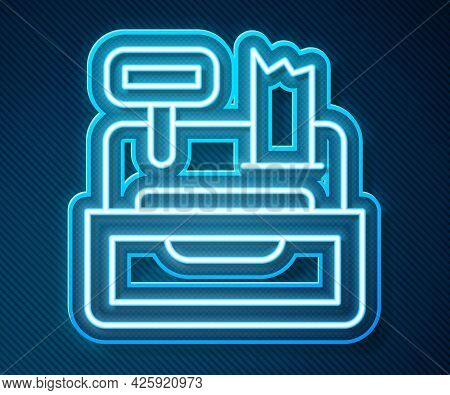 Glowing Neon Line Cash Register Machine With A Check Icon Isolated On Blue Background. Cashier Sign.
