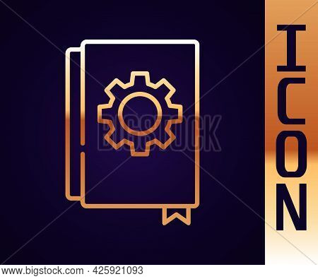 Gold Line User Manual Icon Isolated On Black Background. User Guide Book. Instruction Sign. Read Bef