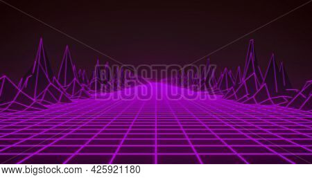 Image of glowing pink grid and map with mountains moving on seamless loop. retro image gaming colour and movement concept