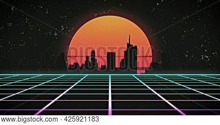 Image of glowing orange sun and cityscape over green grid at night. retro image game colour and movement concept digitally generated image.