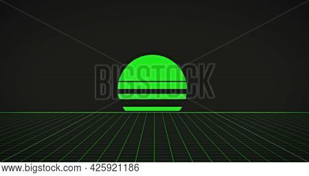 Image of neon green sun over glowing green grid on black background. retro image game colour and movement concept digitally generated image.