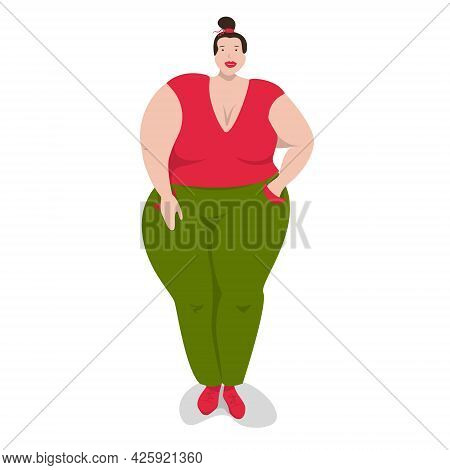 Body Positive Woman Is Standing. Flat Style. Vector Illustration Of A Plus Size Woman, Full Figure.