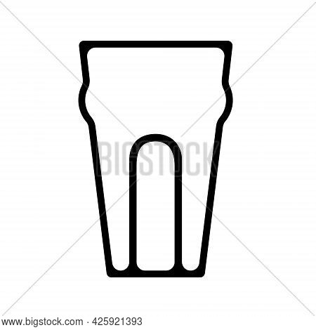 Glass For Beer. Pint Of Beer. Black Silhuette Of Glass, Flat Style.