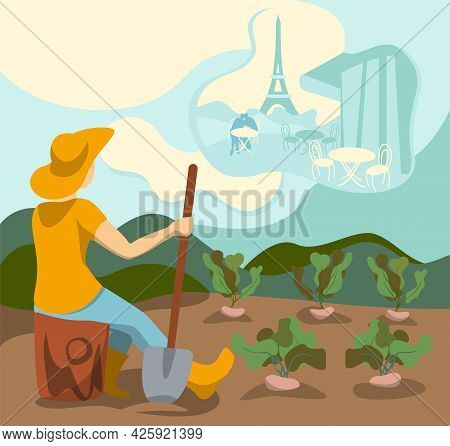 Woman Is Sitting In Garden, Looking In The Sky And Dreams About Paris. Clouds With Paris, Fantasy. W