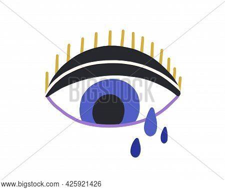 Magic Blue Evil Eye With Tears And Eyelashes. Mystical Spiritual Eyeball Weeping In Doodle Style. Tu