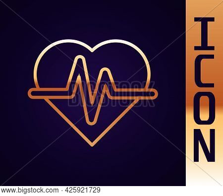 Gold Line Heart Rate Icon Isolated On Black Background. Heartbeat Sign. Heart Pulse Icon. Cardiogram