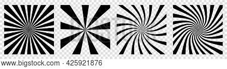 Starburst Or Sunburst Backgrounds. Vector Illustration Isolated On Transparent Background